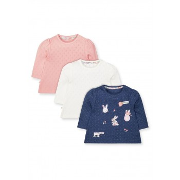 Mothercare Girls Assorted Applique Pack of 3 T-Shirts