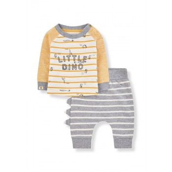 Mothercare Boys Grey Striped T- Shirt & Joggers Set