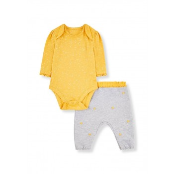 Mothercare Girls Multicolor Printed Bodysuit & Trousers Set