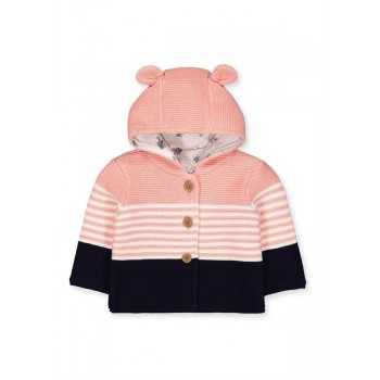 Mothercare Girls Peach Striped Cardigan