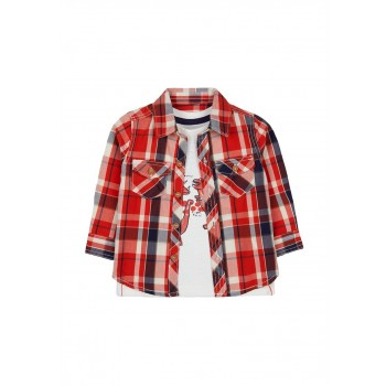 Mothercare Boys Red Checkered Shrt & T-Shirt Set