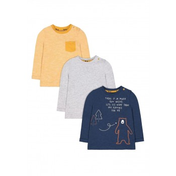 Mothercare Boys Assorted Textured Pack of 3 T-Shirts