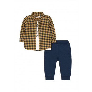 Mothercare Boys Multicolor Checkered T-Shirt, Shirt & Joggers Set