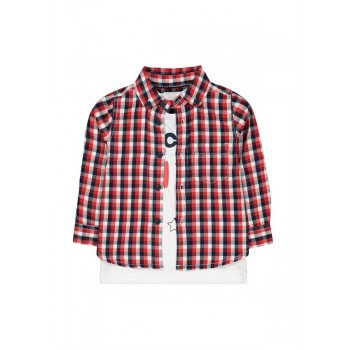 Mothercare Boys Red Checkered Shirt & T-Shirt Set