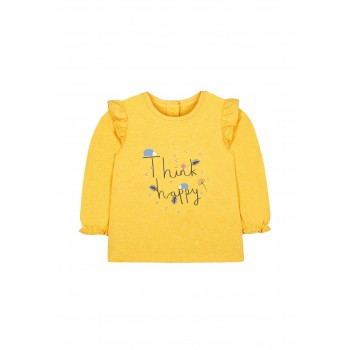 Mothercare Girls Yellow Embroidered T-Shirt