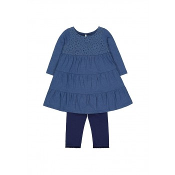 Mothercare Girls Blue Solid Dress & legging Set