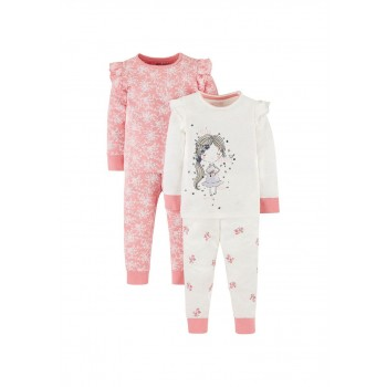Mothercare Girls Pink Printed Pack of 2 Nightsuit