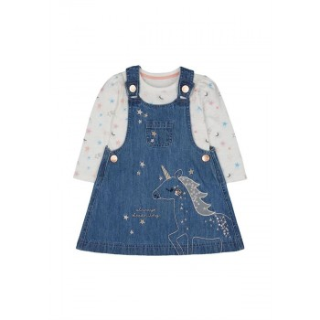 Mothercare Girls Blue Embroidered Pinny Dress & T-Shirt Set