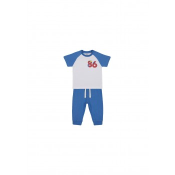 Mothercare Boys Blue Color Block T-Shirt & Joggers Set