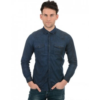 Pepe Jeans Men Casual Wear Navy Blue Shirt