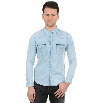 Pepe Jeans Men Casual Wear Blue Shirt
