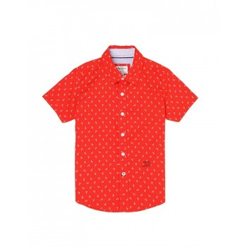 Pepe Jeans Boys Printed Red Shirt