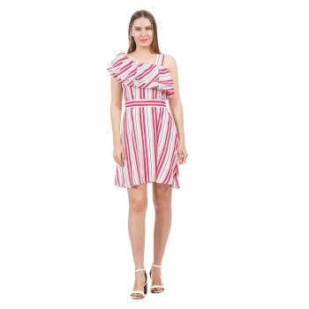 Pepe Jeans Women Striped One Shoulder Dress