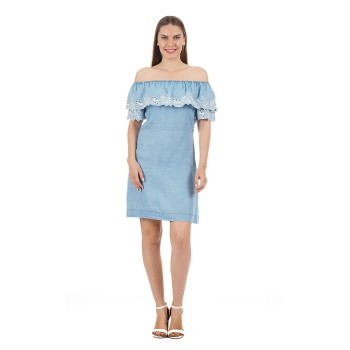 Pepe Jeans Women Solid Strapless Dress