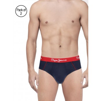 Pepe Jeans London Men Solid Navy Brife Pack Of 2
