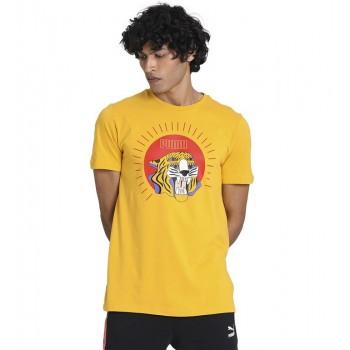 Puma Men Casual Wear Yellow T-Shirt