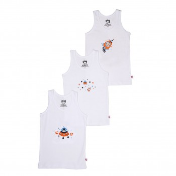 Snhug Boys White Graphic Print Pack of 3 Vest