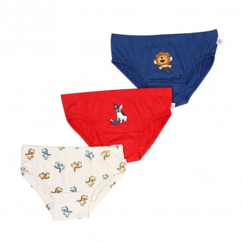 Snhug Boys Multicolor Graphic Print Pack of 3 Brief