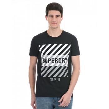 Super Dry Men Casual Wear Black T-Shirt