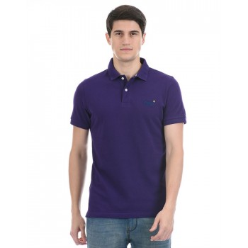 Super Dry Men Casual Wear Purple Polo T-Shirt