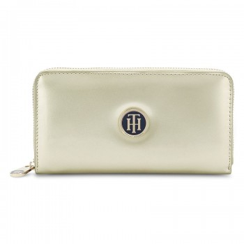 Tommy Hilfiger Leather Women Golden Hand Wallet