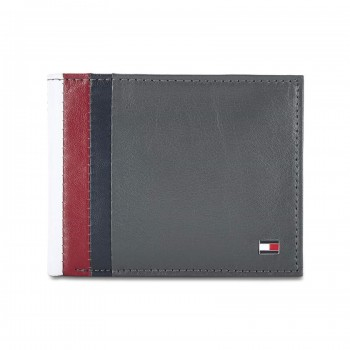 Tommy Hilfiger Leather Men Grey Fold Wallet