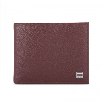 Tommy Hilfiger Leather Men Burgundy Fold Wallet