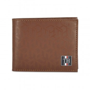 Tommy Hilfiger Leather Mens Printed Tan Franco Global Coin Wallet