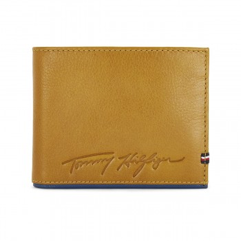 Tommy Hilfiger Leather Mens Solid Tan/Blue Trillium Global Coin Wallet