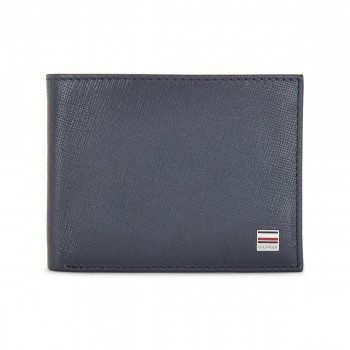 Tommy Hilfiger Leather Mens Textured Navy Orchid Slimfold Wallet