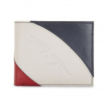 Tommy Hilfiger Leather Mens Color Block Red/White/Blue Phoenix Global Coin Wallet