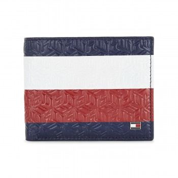 Tommy Hilfiger Leather Mens Color Block Red/White/Blue Stellar Global Coin Wallet