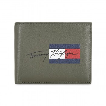 Tommy Hilfiger Leather Mens Printed Olive/Navy Spirit Global Coin Wallet