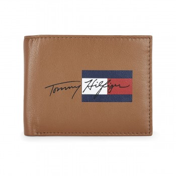 Tommy Hilfiger Leather Mens Printed Tan/Brown Spirit Global Coin Wallet