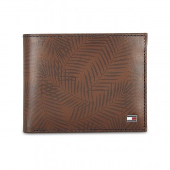 Tommy Hilfiger Leather Mens Printed Tan Lotus Passcase Wallet