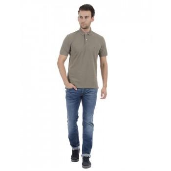 Tommy Hilfiger Men Casual Wear Khaki T-Shirt
