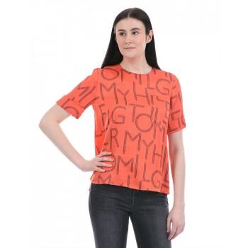 Tommy Hilfiger Women Casual Wear Orange T-Shirt