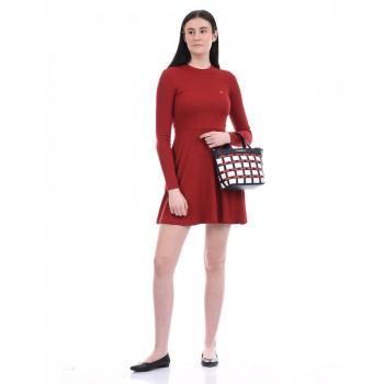 Tommy Hilfiger Women Casual Wear Maroon Skater Dress