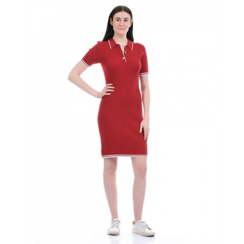 Tommy Hilfiger Women Casual Wear Red Bodycon Dress