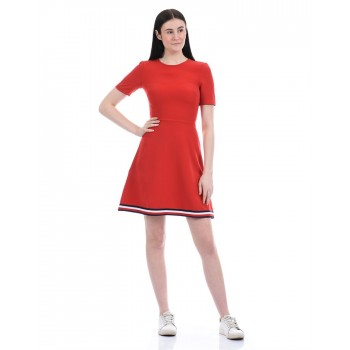 Tommy Hilfiger Women Casual Wear Red Skater Dress