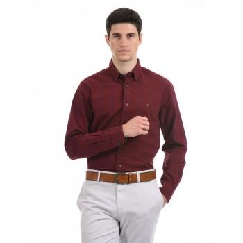 Tommy Hilfiger Men Formal Wear Maroon Shirt