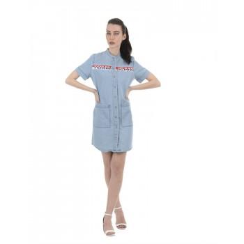Tommy Hilfiger Women Casual Wear Blue Shirt Dress
