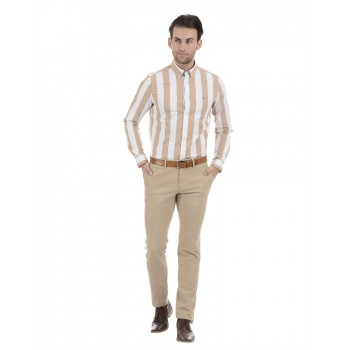 Tommy Hilfiger Men Casual Wear Beige Shirt