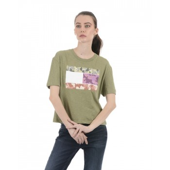 Tommy Hilfiger Women Green Casual Wear T-Shirt