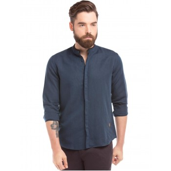 True Blue Men Casual Wear Solid Shirt