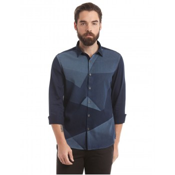 True Blue Men Casual Wear Color Block Shirt