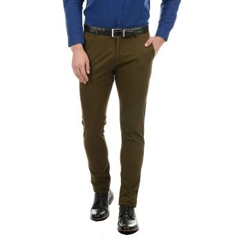 True Blue Men Dark Green Casual Wear Trouser