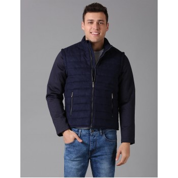 True Blue Men Casual Wear Solid Jacket With Detachable Sleeves