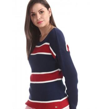 U.S. Polo Assn. Women Casual Wear Striped Sweater
