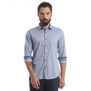 True Blue Men Casual Wear Polka Print Shirt